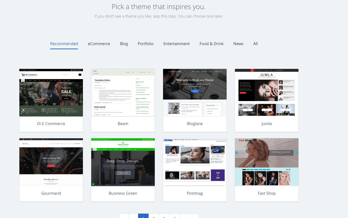Wordpress Themes Bluehost