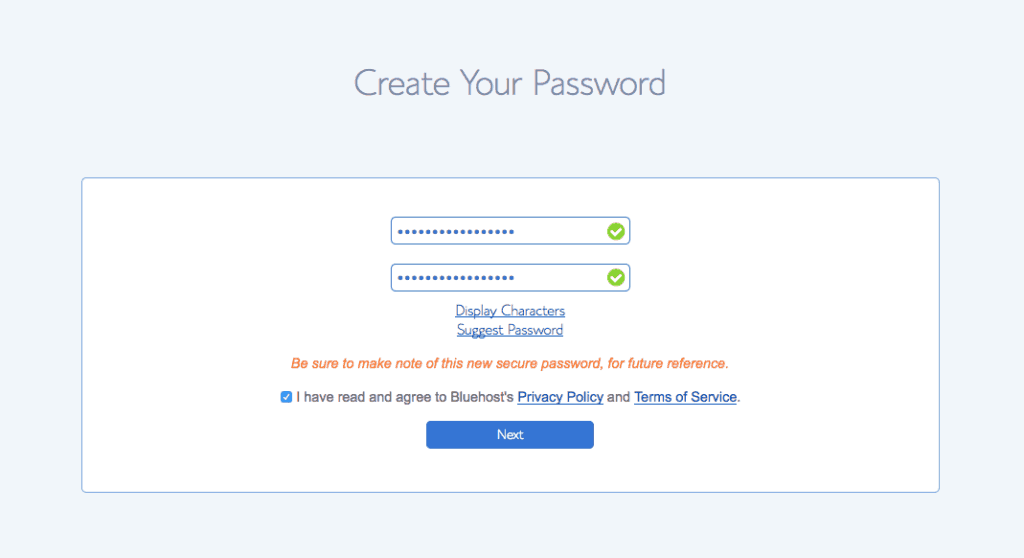 bluehost password 2