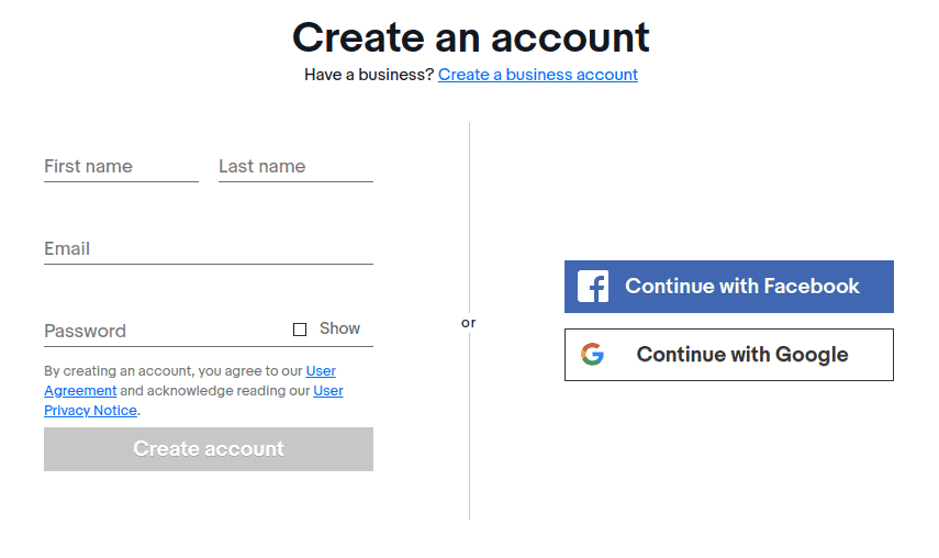 Create a new eBay account