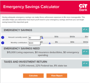 CIT Bank Emergency Fund Calculator