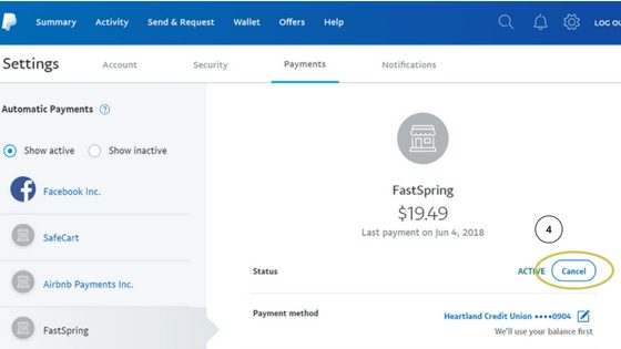 How to Cancel Boardbooster on Paypal step 3