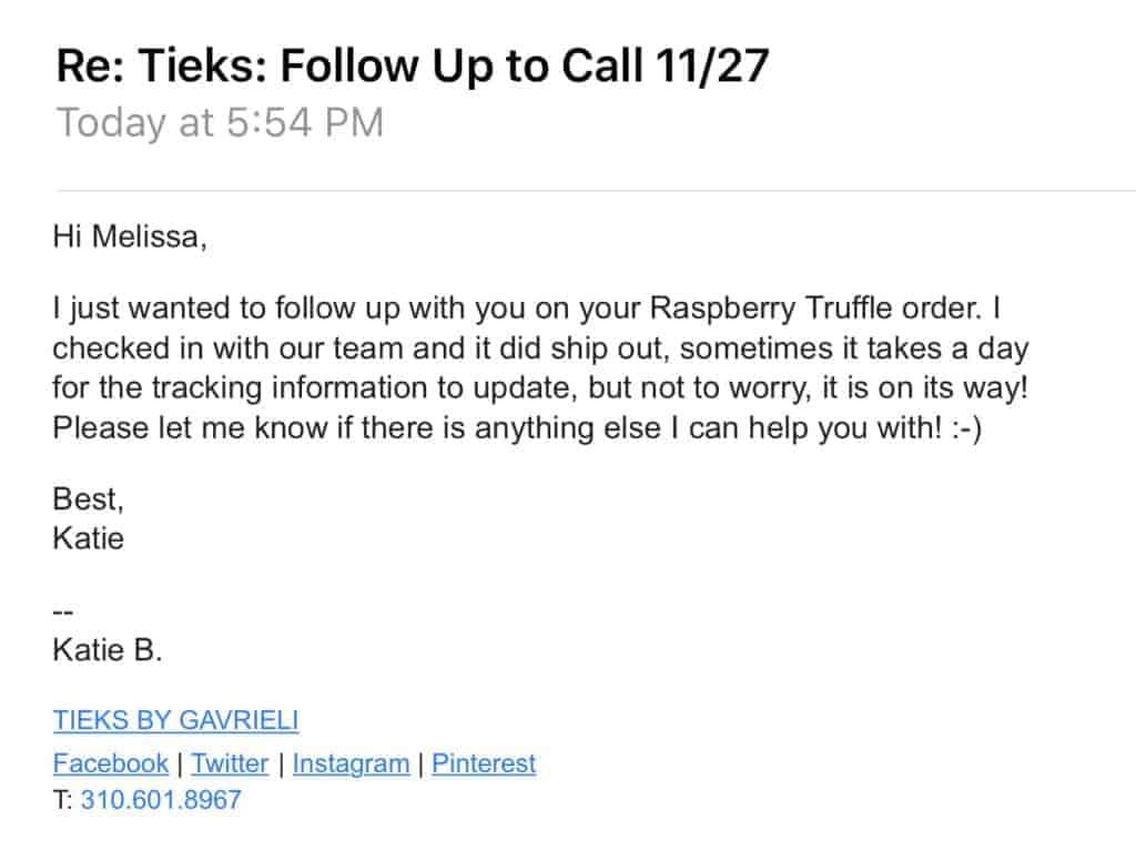 Tieks customer service