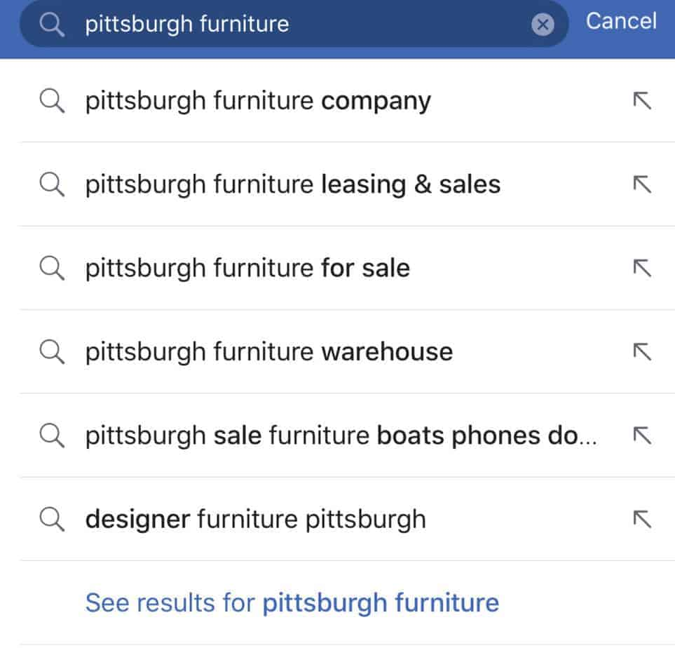 how to find furniture stores on facebook
