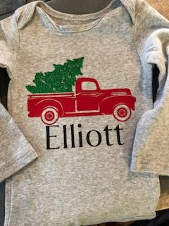 Cricut Onesie Gift Farmhouse Christmas Tree Truck