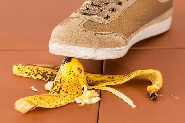 slipping on a banana peel